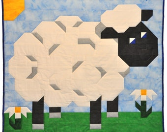 Baby Lamb Quilt Pattern in Multiple sizes - PDF
