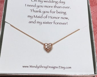 Rose gold cz heart necklace, cubic zirconia, flower girl, wedding, bridesmaid, maid of honor gift, bridal party gift, box chain N301B