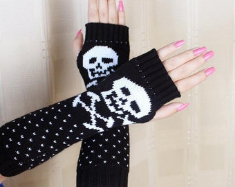 Black knit skull arm warmers fingerless gloves