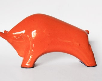 Century Orange Ceramic Bull - 60s Otto Keramiek