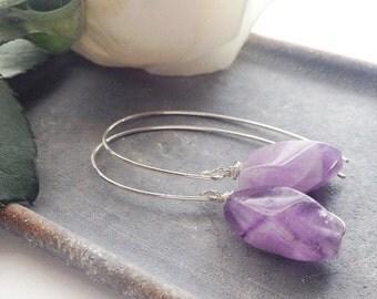 Silver Amethyst Hoop Earrings, Silver Purple Earrings, February Birthstone Earrings, Gemstone Drop Earrings