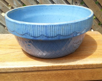 Reduced Price;-) UNTIL JULY 4TH !!!Dough Bowl Blue Pottery Stoneware Yellow ware Rounded Fence Trim Embosed Leaves Criscross Pattern Vintage