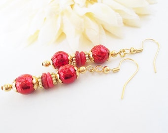 Red Beaded Earrings, Red Dangle Earrings, Ruby Red Earrings, Gold and Red Earring, Red Shell Earrings, Mother of Pearl, Shell Beaded Jewelry