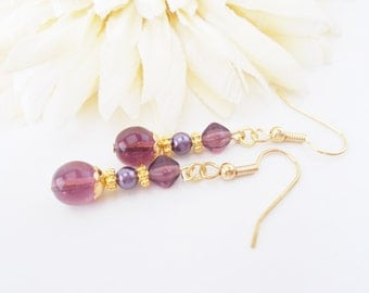Amethyst Purple Earrings, Pearl Earrings, Violet Purple Earrings, Beaded Earrings, Bridal Earrings, Czech Glass Jewelry
