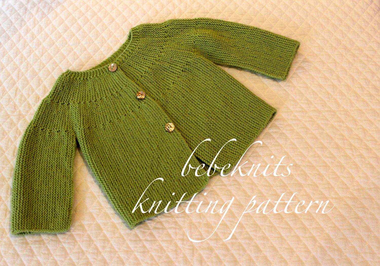 European Knitting Patterns : Bebeknits Classic European Toddler Cardigan Knitting Pattern
