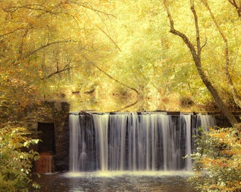 Waterfall, Yellow Leaves Photography, Fall Foliage,  Fall Decor, Fall Photography, Autumn Leaves, Landscape Photos,  Fall, Autum Home Decor
