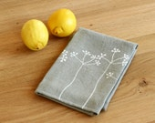 Grey linen dishcloth - Elderberries