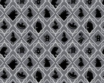 Disney Alice In Wonderland Iron Frames cotton quilting fabric from Camelot Cottons