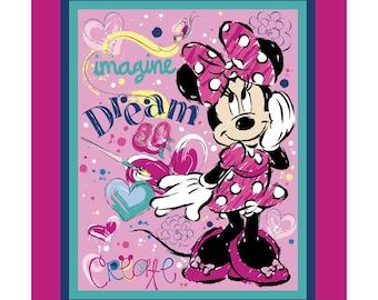 Disney Minnie Mouse Imagine Dream Create 35 x 44 cotton fabric panel by Springs Creative