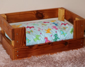 Crate Style Dog Bed or Cat Bed - Reclaimed Wood - Free US Shipping - Dogbed for small pets
