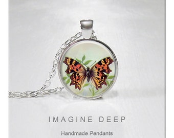 BUY 2 GET 1 FREE Butterfly Pendant Necklace Orange Butterfly Art High Quality Handmade Silver Copper Pendant - Orange Butterfly (009)