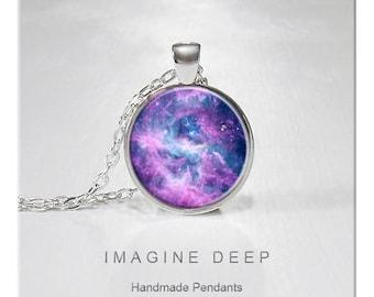 BUY 2 GET 1 FREE Nebula Pendant Necklace Stars Celestial Purple Violet High Quality Handmade Silver Copper Pendant - Nebula rcw 49 (053)