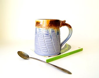 MADE TO ORDER...Pottery Coffee Mug in Lavender and Honey Brown, Handmade Wheel Thrown Pottery