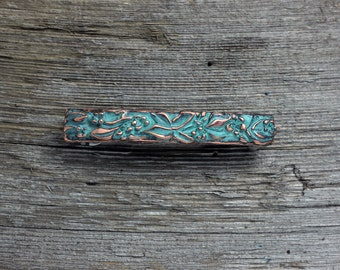 Wood violet large hair barrette in copper with blue green patina
