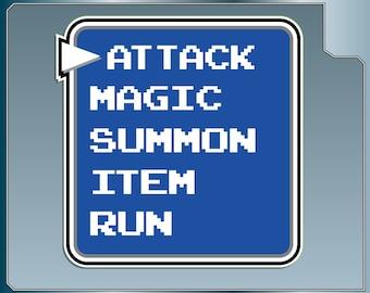 ATTACK MENU from Final Fantasy Funny Video Game bumper sticker