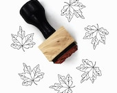 Rubber Stamp Maple Leaf - Autumn Fall Leaves - Wood Mounted Stamp by Creatiate