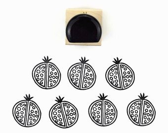 Rubber Stamp Pomegranate - Pom Pom Pomagranate Hand Drawn Stamp