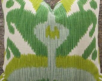 Designer Pillow Cover -Lumbar, 16 x 16, 18 x 18, 20 x 20, 22 x 22 - Big and Bold Ikat Grass