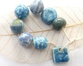 Handmade beads ~ 7 unique ceramic beads, 1 rabbit charm, porcelain stoneware clay bead set, jewelry making, jewellery components, hand made