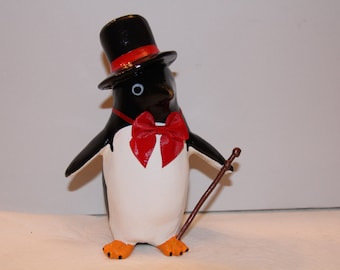 Dapper Tuxedo Penguin Figure with Red Hat Band and Red Tie