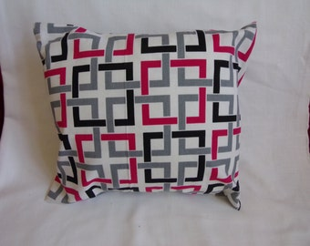 """Red, Black, and Grey Abstract 16 x16"""" Pillow Cover"""