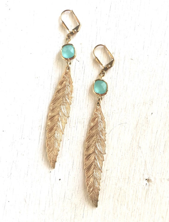 Gold Leaf Earrings with Aqua Stones.  Long Gold Fashion Earrings. Feather Earrings.  Leaf Earrings. Big Feather Earrings. Jewelry.