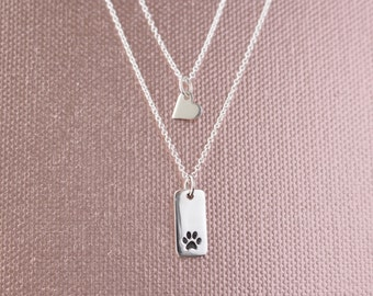 Layered Sterling Silver Paw Tag and Heart Charm Necklace Set -Girlfriend, Friend, Gift for Her, Mom, Mother, Mommy