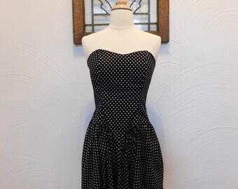 Polka Dot Dress Vintage 1980s Black Midi Dress - XS / S