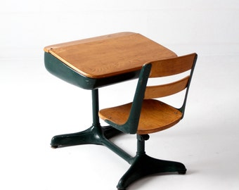 children's school desk, vintage kid's classroom desk with swivel seat