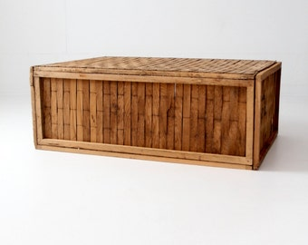 large shipping crate, vintage wood slat box, storage container