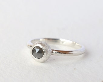 sterling silver seed pod 4mm rose cut grey diamond ring