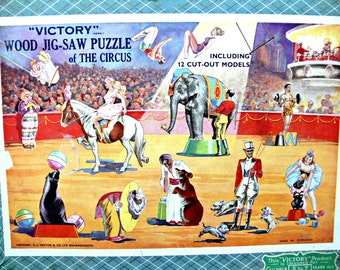 Victory Wooden Circus Jigsaw Puzzle with Character Pieces - Vintage 1950s Made in England RARE