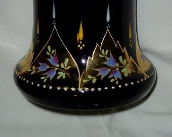 Vintage Amethyst Tall Vase, Czech, Gilded, Enameled Floral Drape Pattern