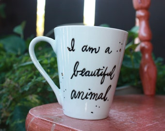 "Made to Order Wizard People, Dear Reader ""I am a beautiful animal, I am a destroyer of worlds"" Sm or Med/Lg white quote mug - Harry Potter"