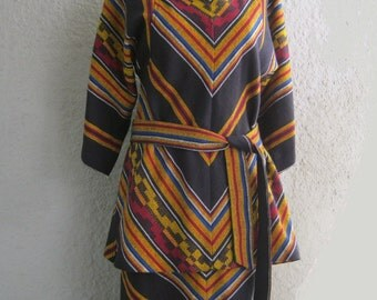 70s Dress - Two Piece Skirt and Top in fabulous Chevron Pattern -  Boho Hippie Tribal Ethnic Southwest Chic