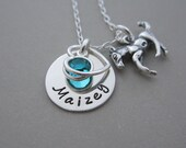 Hand Stamped Jewelry, Personalized Necklace, Necklace with Name, Sterling Silver Horse Necklace, Horse Lover Gift, Birthstone