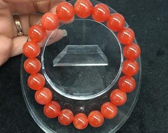 Natural Cornelian 10mm Beaded Bracelet