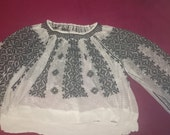 Vintage Romanian embroidered  blouse costume ethnic