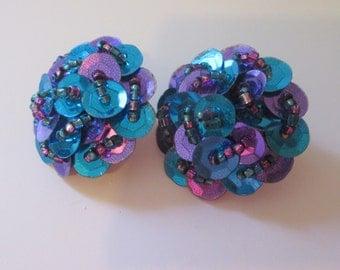 Vintage Royal Blue & Purple Sequin Earrings