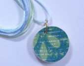 Blue Green Small Round Pendant Broken China with Satin Cord #483