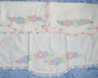 Vintage Dresser Set - 3 Piece Set, Embroidered Flowers, Pink and Blue, Crocheted Trim, 1950s Shabby Chic, Boho, Baby Nursery