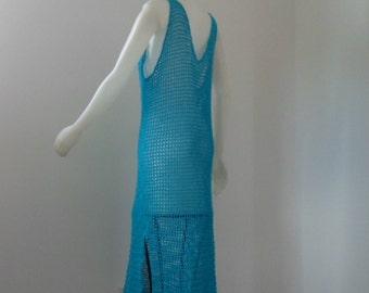 Crochet Cover Up Maxi Dress Open Mesh Stitch Sleeveless V Neck in Turqoise Cotton