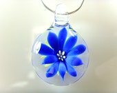 Blown Glass Blue Flower Pendant, Your Choice of Black Satin Cord, Cotton Cord or Sterling Chain