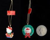 Vintage Sanrio Hello Kitty in Wreath and Baby Santa Ceramic Christmas Trinket/Ornament 2 Trinkets  Vintage Sanrio 1976 -1991 Japan