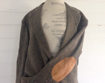 Vintage Wool Plaid Professor's Jacket w LATTE Suede Elbow Patches