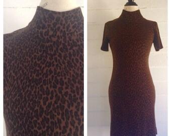 Vintage 1990s Leopard Print Knit Dress