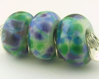 Handmade Lampwork Pale Green base  and Organic Blue, Green and Violet Frit BHB Bead (3 )- Organic Collection - LEteam