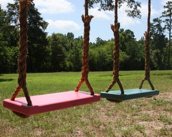 Set of Two Wooden Tree Swings, Double Rope