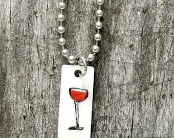 Hand Painted Red Wine Stainless Steel Charm on Bracelet