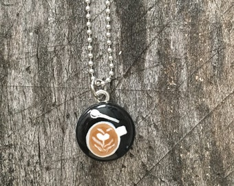 Hand Painted Latte Art Necklace in Black